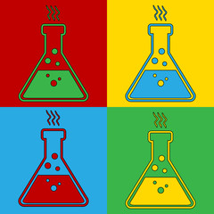 Pop art laboratory glass symbol icons.