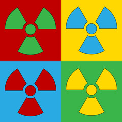 Pop art radiation sign symbol icons.