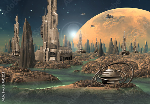 Fototapeta Futuristic Alien City - Computer Artwork