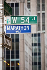 Marathon Walk street sign in New York City, located at the corne