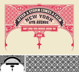 Card, retro style. Design elements. vector