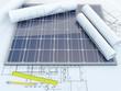 Leinwandbild Motiv solar panel and drawing