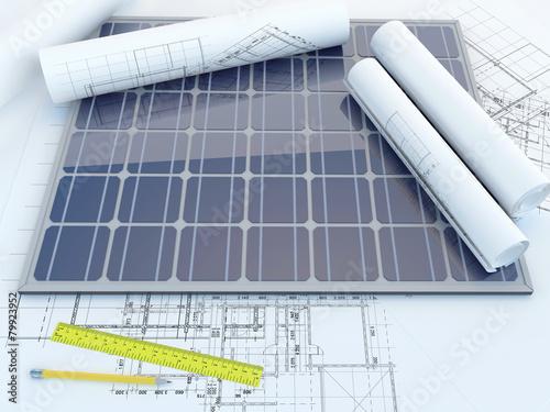Leinwanddruck Bild solar panel and drawing