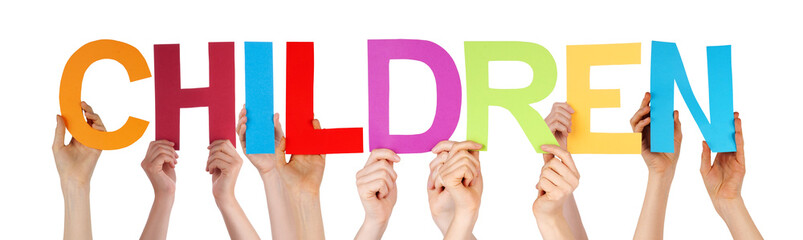 Many People Hands Holding Colorful Straight Word Children