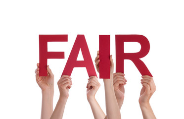 Many People Hands Holding Red Straight Word Fair