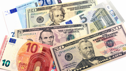 euro and us dollars banknotes