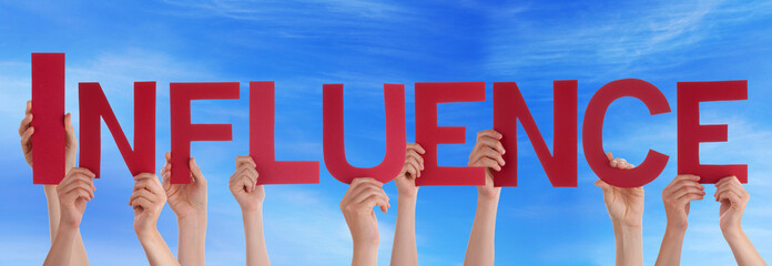 Many People Hands Holding Red Straight Word Influence Blue Sky