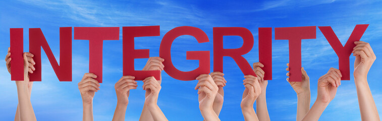 Many People Hands Holding Red Straight Word Integrity Blue Sky