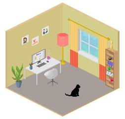 Isometric room interior