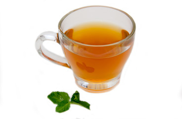 Tea with mint on a white background