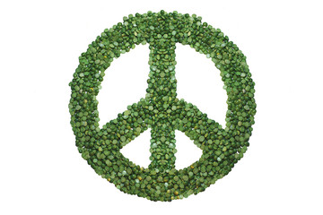 Green peace sign hand- made of green peas.