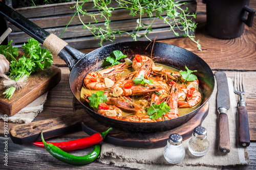 Tasty shrimps with garlic and coriander