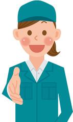作業員 女性 握手