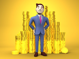Smile Businessman With Coins On Yellow Background