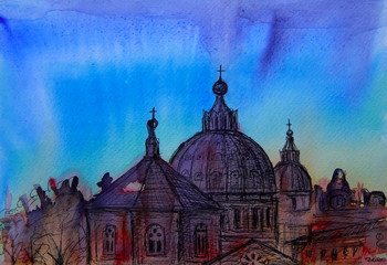 Abstract picture of Rome painted by watercolor.