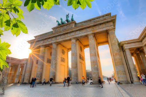 Fotobehang Historisch mon. Brandenburg gate at sunset