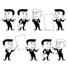 Set of Businessman Characters Making Interactive Postures