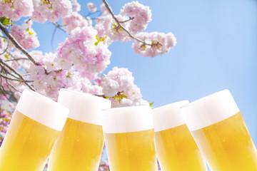 桜とビール