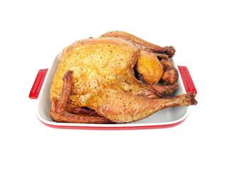smoked turkey in a tray