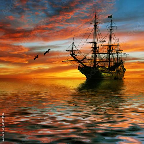 Sailboat against beautiful sunset landscape - 79929394