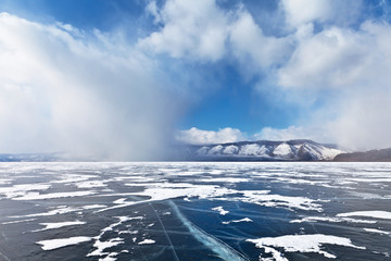 Lake Baikal. Weather events. Snowy charge
