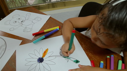 Girl Coloring Drawings With Felt Pen