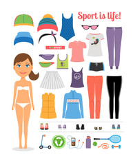 Cartoon Girl with Fitness Clothing and Equipment