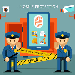 Mobile phone protection. Financial security and data