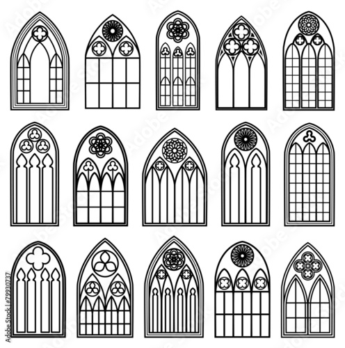 Gothic Window Silhouettes - 79930737