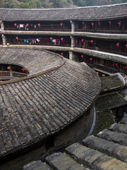 Inside traditional Hakka Tulou building. Fujian, China