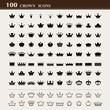100 basic Crown icons set - 79931963