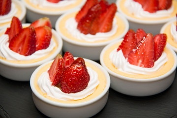 strawberry cheese cake in cup.