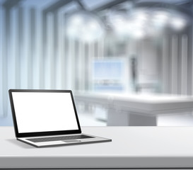 3d Laptop computer with blank screen on blurred background for m