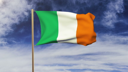 Ireland flag waving in the wind. Looping sun rises style