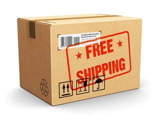 Cardboard box with Free Shipping stamp