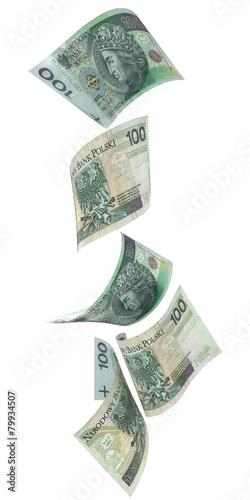 Spadające banknoty 100 PLN - 79934507