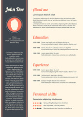 Curriculum vitae with special modern design, vector, eps10