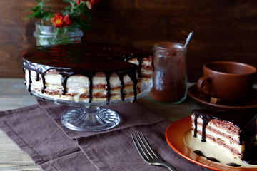 Chocolate homemade cake on a plate