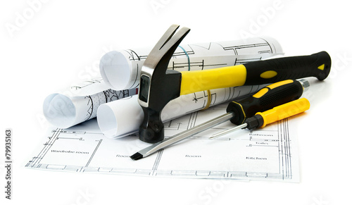 Drawings for building house and working tools. - 79935163