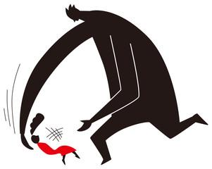倒れる女性を助ける男性