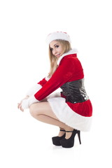 Female Santa Claus Crouching