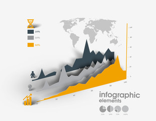 Set of 3D infographics with 3d shadow.
