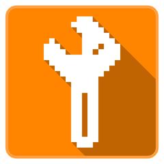 Orange wrench icon (Pixel Art)