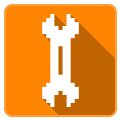 Orange two way wrench icon (Pixel Art)