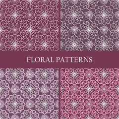 Collection of abstract floral spirograph patterns
