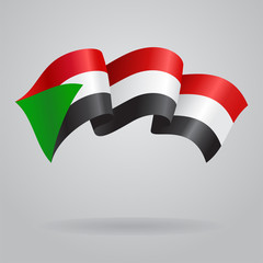 Sudanese waving Flag. Vector illustration