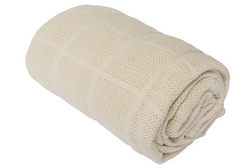 Brown cotton blanket rolled on a white background