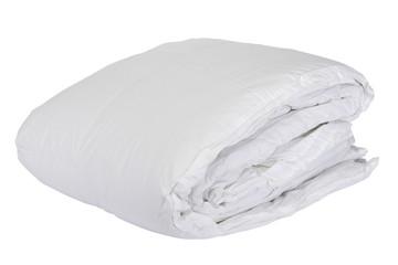 Folded white duvet cover on white isolated background