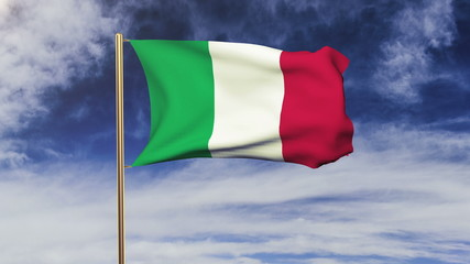 Italy flag waving in the wind. Looping sun rises style