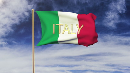Italy flag with title waving in the wind. Looping sun rises